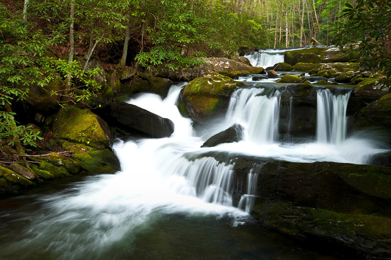 GSM 012                      <br /> Rock ledges in Great Smoky Mountains National Park form a waterfall along the Middle Prong of the Little River.