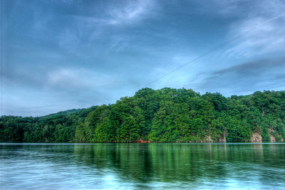 A coolness settles across Fort Patrick Henry Lake after sunset at Warriors Path State Park in Kingsport, TN on Wednesday, May 2, 2012. Copyright 2012 Jason Barnette