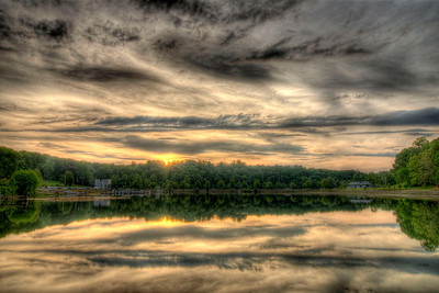 The sun sets across Fort Patrick Henry Lake at Warriors Path State Park in Kingsport, TN on Monday, April 30, 2012. Copyright 2012 Jason Barnette