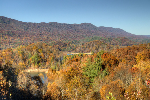 """View of the fall colors around Watauga Lake from the C.R. """"Doodle"""" White Overlook along Highway 321 near Hampton, TN on Friday, November 1, 2013. Copyright 2013 Jason Barnette"""