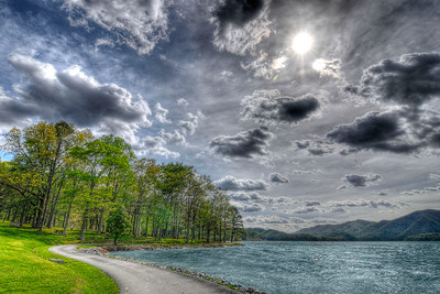 Cloudy skies linger over the Watauga Point Recreation Area at Watauga Lake near Butler, TN on Monday, April 23, 2012. Copyright 2012 Jason Barnette