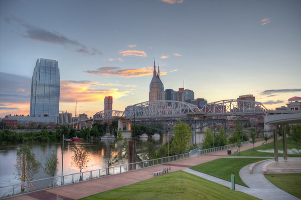 Downtown Nashville gets ready for some nightlife as the sun starts to set.