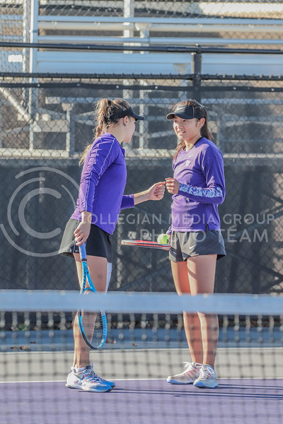 Doubles partners freshman Manami Ukita and redshirt junior Rosanna Maffei fist bump after a point in the first round of matches in the Fall Invitational hosted by K-State on October 31.<br /> (Macey Franko | Collegian Media Group)<br /> Doubles partners freshman Manami Ukita and redshirt junior Rosanna Maffei fist bump after a point in the first round of matches in the Fall Invitational hosted by K-State on October 31.<br /> (Macey Franko | Collegian Media Group)