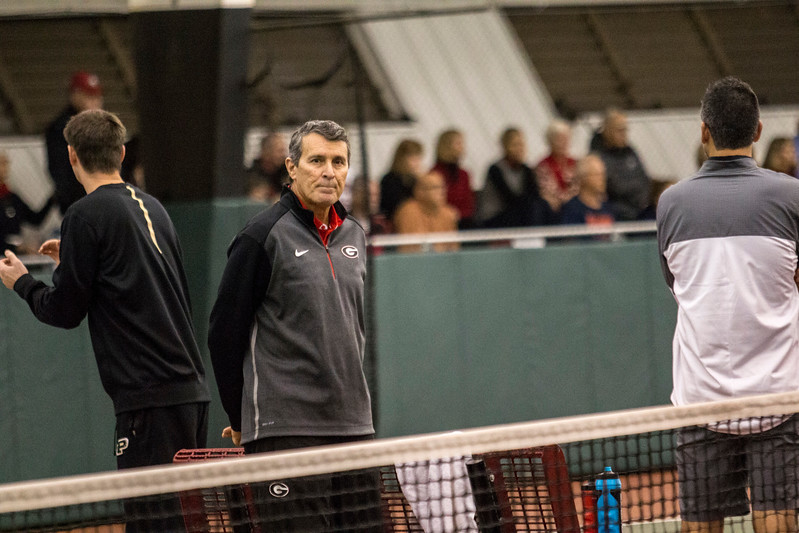 Georgia head coach Manuel Diaz during the ITA Kickoff Weekend at the Dan Magill tennis complex in Athens, Ga., on Friday, Jan. 27, 2017. (Photo by John Paul Van Wert / Georgia Sports Communications)