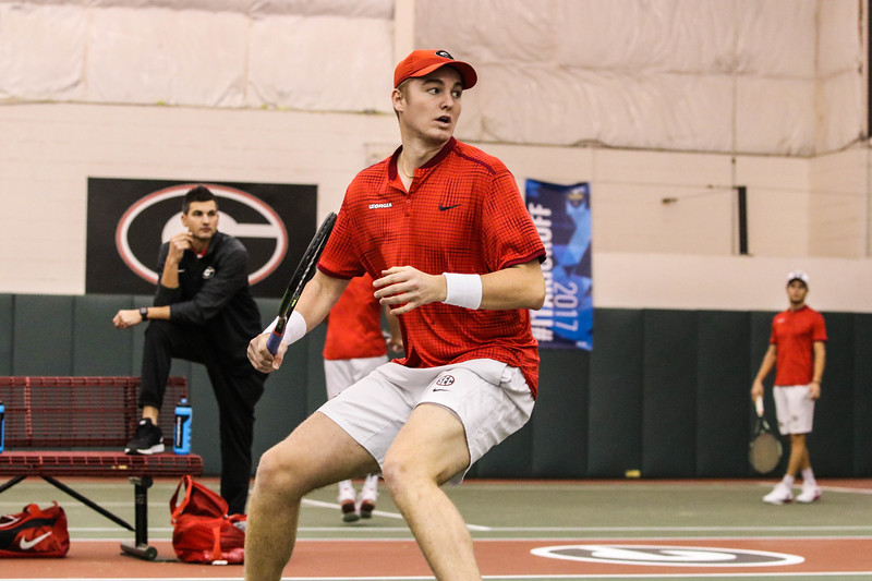 Paul Oosterbaan -  Georgia men's tennis team - During the Bulldogs' match against Washington at Dan Magill Tennis Complex on Sunday, Jan. 29, 2017. (Photo by Cory A. Cole / Georgia Sports Communications)