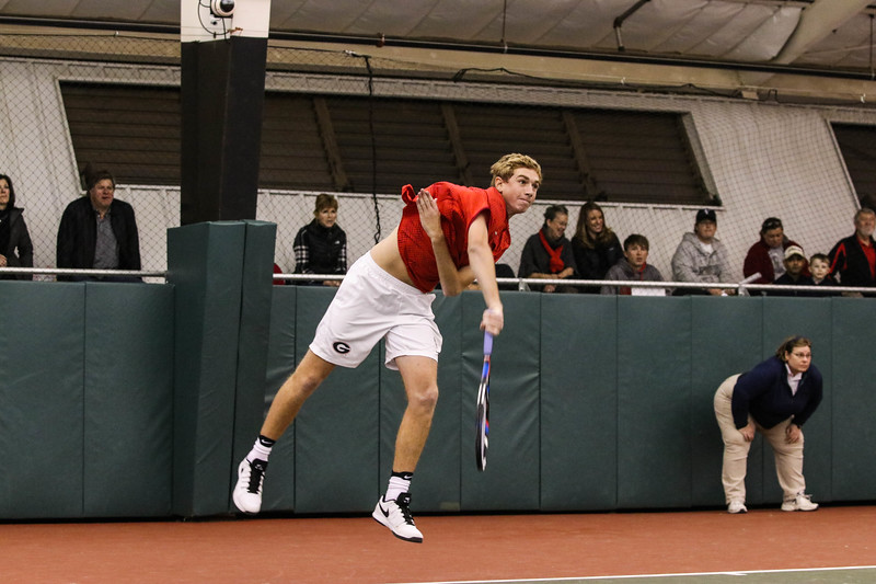 Georgia's Robert Loeb during the Bulldogs' match against Washington at Dan Magill Tennis Complex on Sunday, Jan. 29, 2017. (Photo by Cory A. Cole)