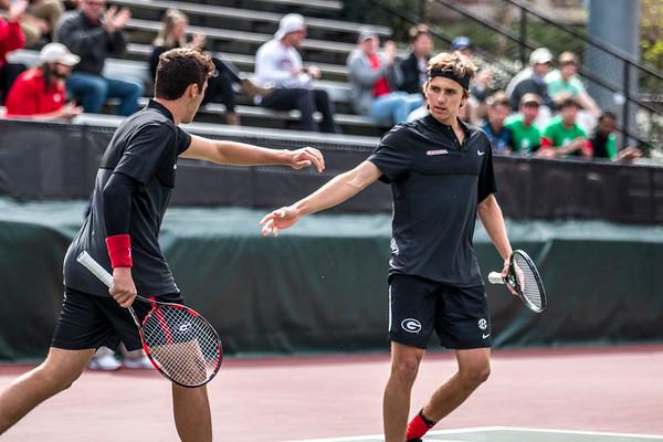 Emil Reinberg and Nathan Ponwith   - UGA Men's Tennis Team -  (Photo by John Paul Van Wert / Georgia Sports Communication)