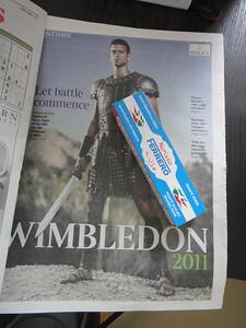 THE SUNDAY TIMESのウィンブルドン特集と、フェレロ社の唐辛子ペースト。