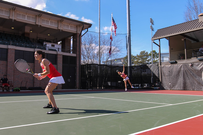 Georgia's Elena Christofi and Ellen Perez - During the Bulldogs' match against Georgia Tech at Dan Magill Tennis Complex on Friday, February 24, 2017.  (Photo by Cory A. Cole / Georgia Sports Communications)