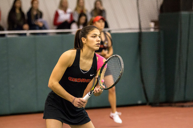 Georgia's Elena Christofi during the ITA Kickoff weekend at the Dan Magill tennis complex in Athens, Ga., on Saturday, Jan. 28, 2017. (Photo by John Paul Van Wert  / Georgia Sports Communications)