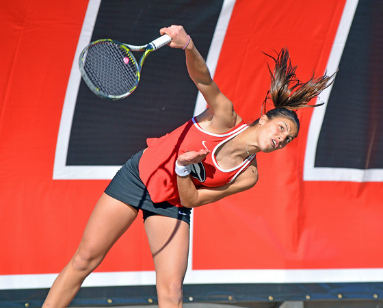 Georgia's Elena Christofi during the Bulldogs' match with Kentucky in Henry Feild Stadium in Athens, Ga., on Friday, March 3, 2017. (Photo by Steven Colquitt)