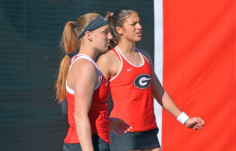 Kennedy Shaffer and Elena Christofi - UGA Women's Tennis Team  (Photo by Steven Colquitt/Georgia Sports Communication)