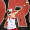 Georgia's Ellen Perez during the Bulldogs' match with Mercer at the Dan Magill Tennis Complex in Athens, Ga., on Wednesday, Feb. 22, 2017. (Photo by John Paul Van Wert)