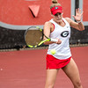 Georgia's Caroline Brinson during the Bulldogs' match with Mercer at the Dan Magill Tennis Complex in Athens, Ga., on Wednesday, Feb. 22, 2017. (Photo by John Paul Van Wert)