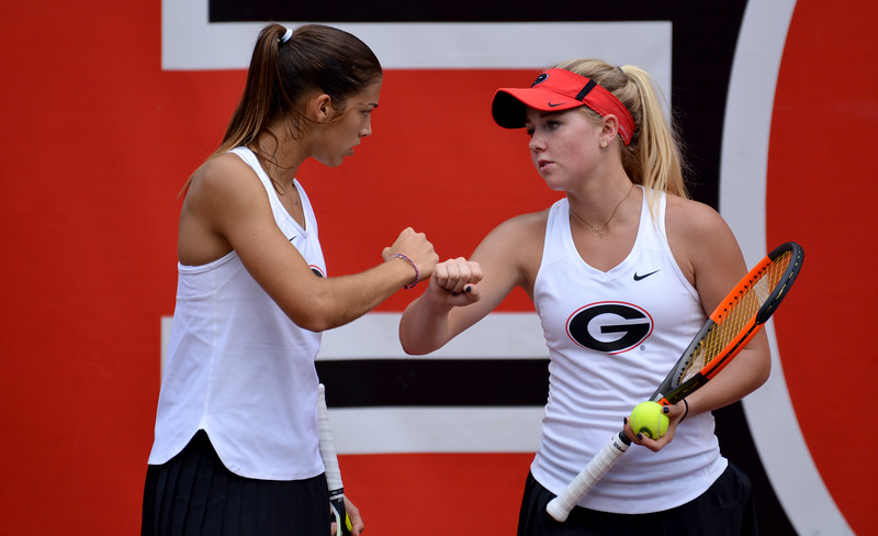 Georgia's Elena Christofi and Morgan Coppoc during the round-robin fall tournament at Henry Feild Stadium in Athens, Ga., on Friday, Sept. 15, 2017.  (Photo by Steven Colquitt / Georgia Sports Communication)