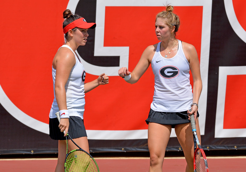 Georgia's Annette Goulak and Mariana Gould during the round-robin fall tournament at Henry Feild Stadium in Athens, Ga., on Friday, Sept. 15, 2017. (Photo by Steven Colquitt/Georgia Sports Communication)