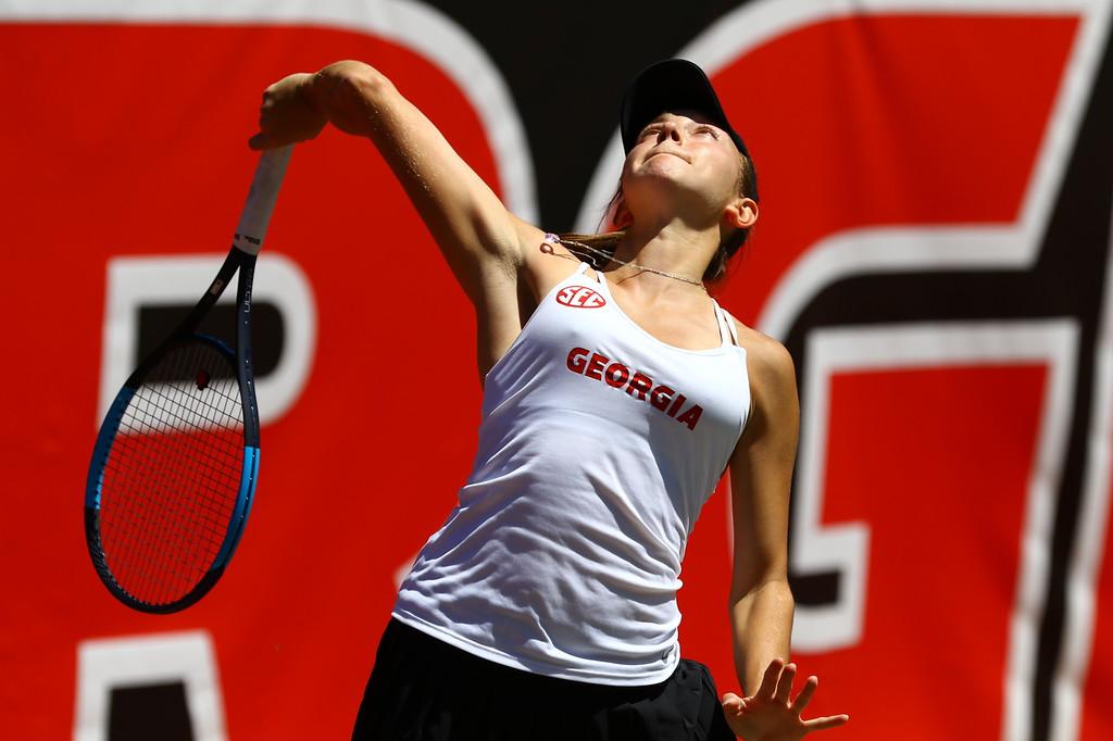 Georgia's Katarina Jokic during their match against Auburn at the Dan Magill Tennis Complex in Athens, Ga., on Saturday, March 31, 2018. (Photo by Steffenie Burns)