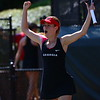 Georgia's Laura Patterson during the match against Mizzou at the Dan Magill Tennis Complex in Athens, Ga., on Saturday, April 14, 2018. (Photo by Steffenie Burns)