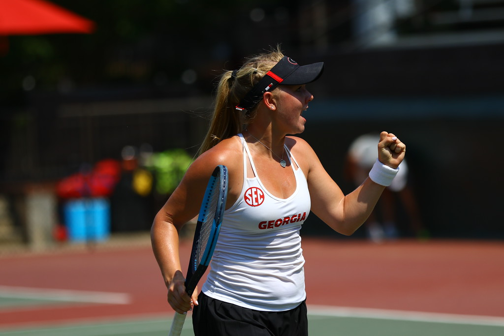 Georgia's Morgan Coppoc during the Bulldogs' match in the NCAA Division I Women's Tennis Championships at the Dan Magill Tennis Complex in Athens, Ga., on May 12, 2018. (Photo by Steffenie Burns/Georgia Sports Communication)