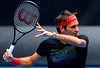 Roger Federer of Switzerland in action during a practice session at the Australian Open, 2014