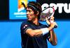 Kei Nishikori of Japan in action at the Australian Open, 2014