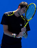 James Ward of Great Britain frustrated during his loss at the Australian Open, 2014
