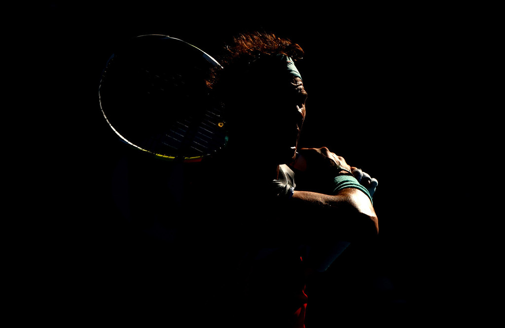 Rafael Nadal of Spain in action at The Australian Open, 2014