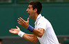 Novak Djokovic of Serbia celebrates reaching the Final and becoming World No.1 at Wimbledon