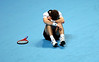 And Murray of Great Britain falls to the ground in agony at the Barclays ATP World Tour Finals, London, 2010