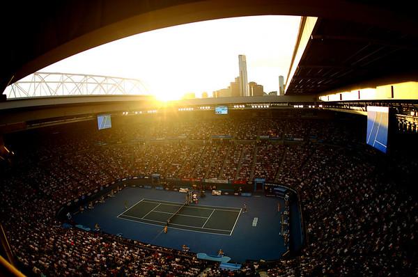Sun sets over Rod Laver Arena, Australian Open, Melbourne, 2011