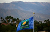 The BNP Paribas flag flies in front of the mountains in Indian Wells, 2011