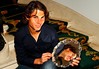 Rafael Nadal in his hotel with the trophy from Madrid, 2010