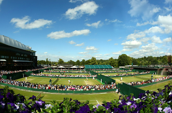A view of the outside courts and Centre Court at Wimbledon, 2011