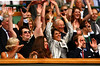 The Duke and Duchess of Cambridge join in the Mexican wave in the Royal box at Wimbledon, 2011