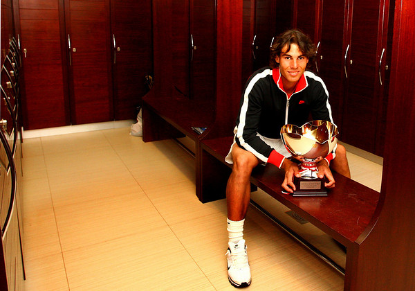 Rafael Nadal inside the male locker room, Monte-Carlo, 2010