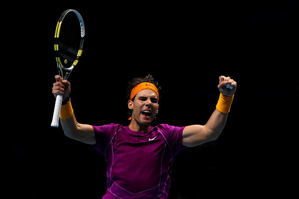 Rafael Nadal of Spain celebrates at the Barclays ATP World Tour Finals, London, 2010