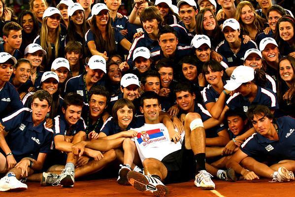 Novak Djokovic and ballkids, Madrid, 2011