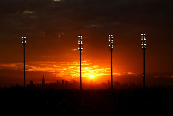 Sunset over the Manhattan skyline, US Open, 2011