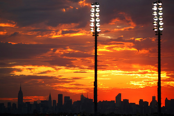 Sunset over the Manhattan skyline, US Open, 2011