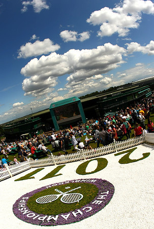 A view of No.1 court from Murray Mount at Wimbledon, 2011