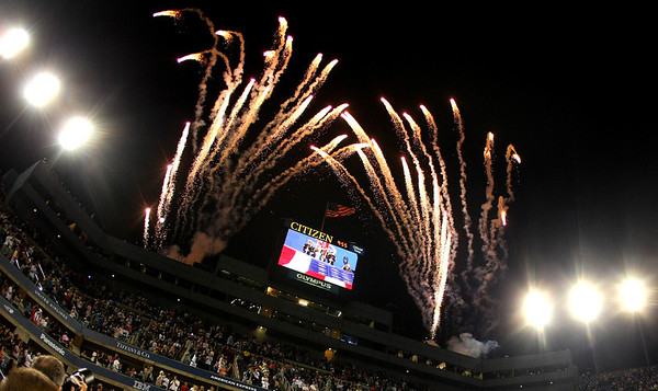 Fireworks over Arthur Ashe stadium, US Open, 2011