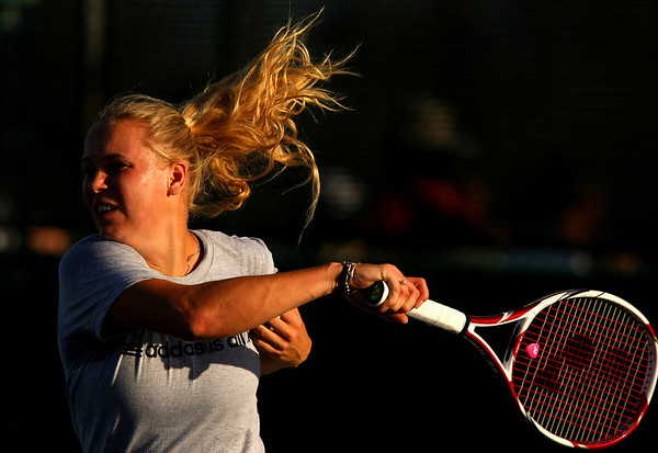 Caroline Wozniacki of Denmark in action during a practice session in Indian Wells, 2011