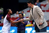 Yao Ming, the recently retired Chinese basketball player, meets Jo-Wilfried Tsonga of France