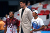 Yao Ming, the recently retired Chinese basketball player, meets Jo-Wilfried Tsonga and Zhang Ze, Beijing, 2011