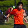WOBURN, MA - MAY 21: MIAA tennis action between the Reading High School Rockets and the Woburn Memorial High School Tanners on May 21, 2014 in Woburn, Massachusetts.