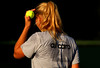 Caroline Wozniacki of Denmark wears her name on her back during a practice session in Indian Wells