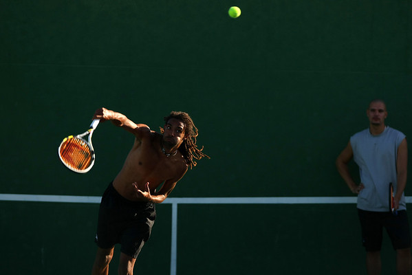 Dustin Brown of Germany in action during a practice session in Indian Wells