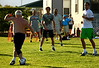 Andy Murray of Great Britain plays football during a practice session in Indian Wells