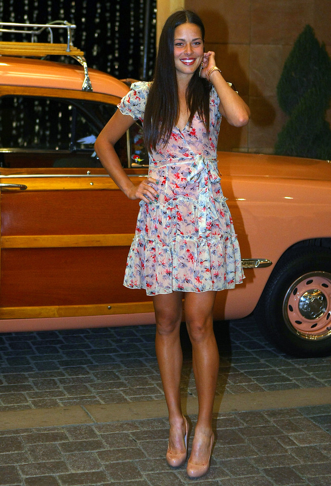 Ana Ivanovic of Serbia arrives at the players party in Indian Wells