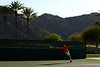 Gilles Simon of France in action during a practice session in Indian Wells
